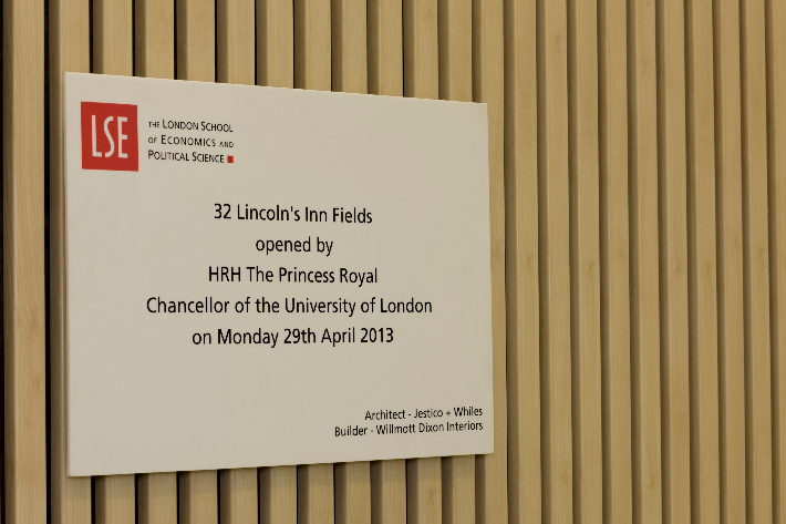 Corian opening plaque, c/w bespoke mounting system
