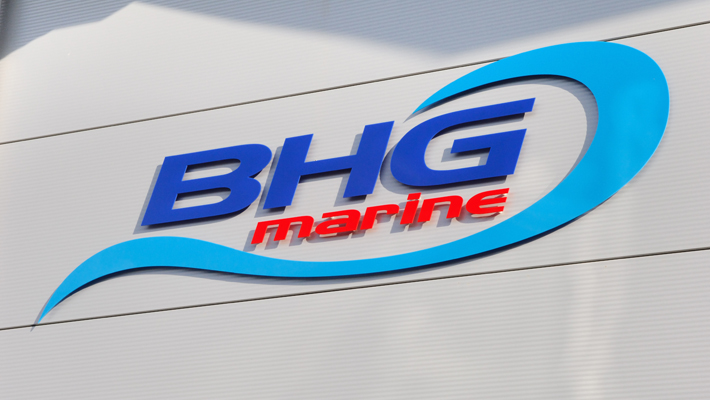 Fret cut acrylic lettering mounted using 25mm stand off locators. The BHG Marine logo was also created by the asap design team.