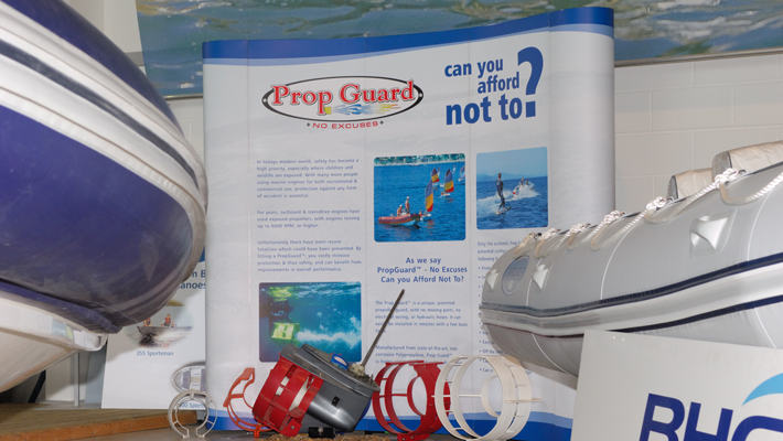 3x3 Curved pop-up stand, pictured here in the Lymington showroom, also used at both the London and Southampton Boatshows.