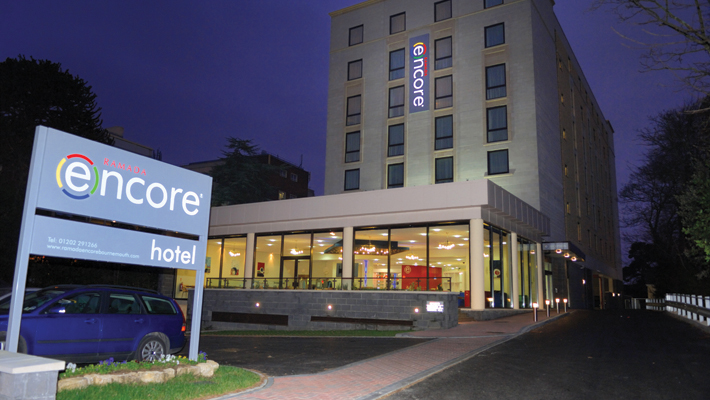 Background – Large internally illuminated aluminium fret face tray sign. Making the hotel visible from a considerable distance day or night.