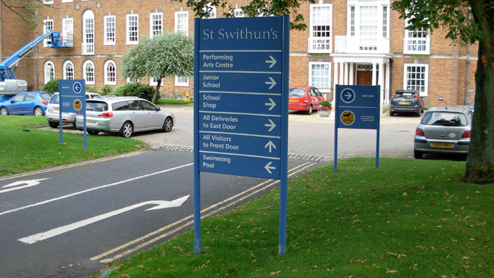 All signs powdercoated to a specific RAL paint code to perfectly match the schools corporate image.