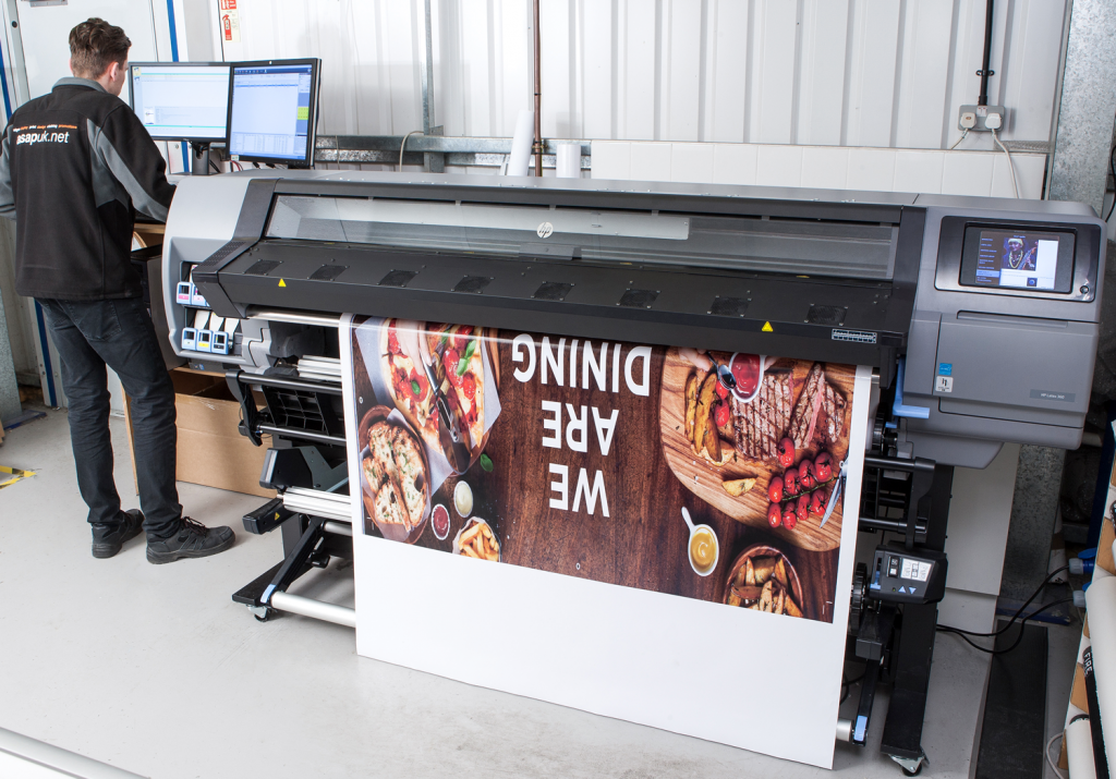 The HP Latex 360 printer in action at ASAP UK